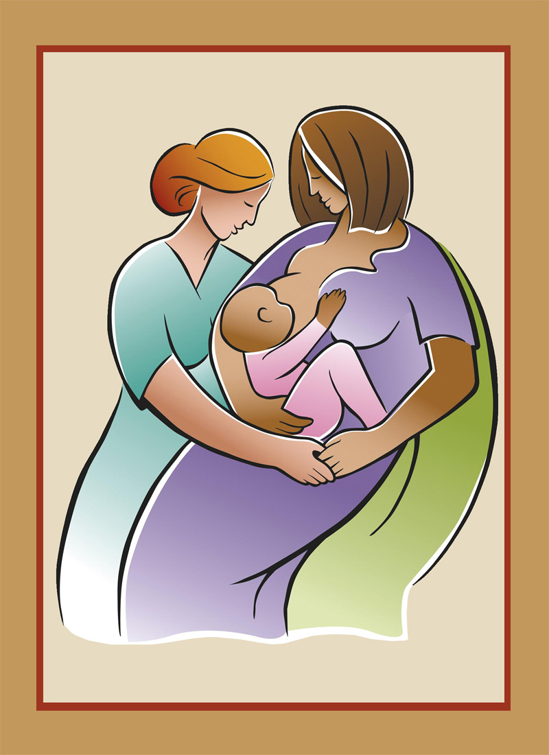 Breastfeeding support illustration from Breastfeeding America